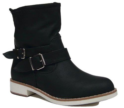 Damen Biker Boots Stiefelette mit Blockabsatz Halbstiefel Schwarz