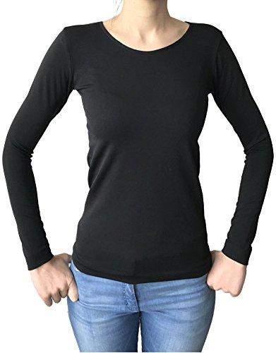 Lady Bella Lingerie Maglia Termica Girocollo con Manica Lunga Maglia Invernale Donna con Interno Felpato Utilizzabile Come Sottogiacca o Intimo Termico (L/XL Nero)