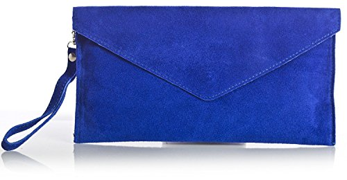 italian-real-suede-leather-envelope-clutch-shoulder-purse-bag-royal-blue