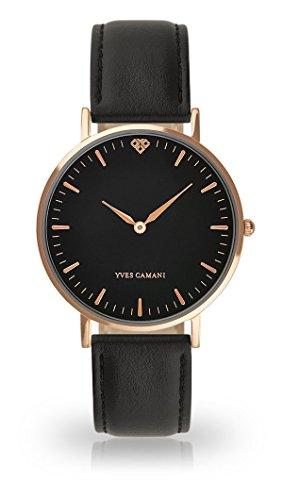 YVES CAMANI - AMELIE, orologio da polso da donna, al quarzo, analogico, cassa in acciaio inossidabile color oro rosa, quadrante nero (in pelle, colore nero)