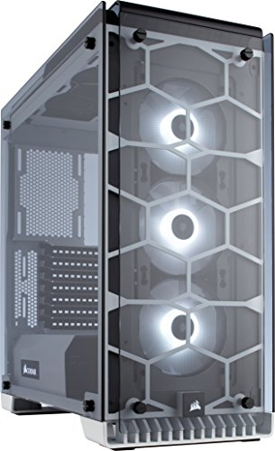 Corsair Crystal 570X Case da Gaming, Mid-Tower ATX, Finestra Laterale Vetro Temperato e Ventole, RGB LED, Bianco
