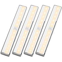 LE 4 x 0.6W Lampe de Placard avec Détecteur de Mouvement Lumière Blanc Chaud 3000K Eclairage LED pour Placard Armoire Penderie Cabinet Tiroir Salle de Bain[Classe énergétique A+]
