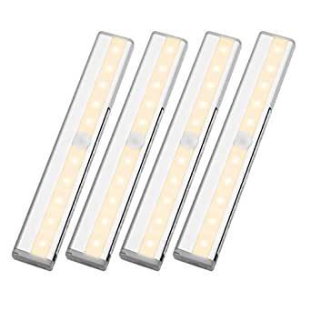 LE Luce barra luminosa LED Sensore di movimento Batterie AAA Bianco Caldo 40 lumen Striscia adesiva e Magnete per Sottopensile Armadi Scale