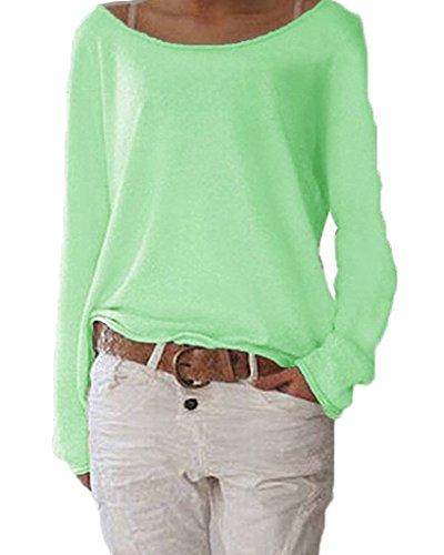 ZIOOER Damen Langarm T-Shirt Rundhals Ausschnitt Lose Bluse Langarmshirts Hemd Pullover Sweatshirt Oberteil Tops Shirts B Grün 3XL (Damen-ausschnitt Pullover)