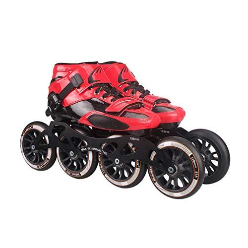 Scarpe da Pattinaggio Professionale, Pattini per Bambini per Adulti, Pattini a rotelle, Pattini in Linea, Scarpe da Corsa con Ruote Grandi (Colore : Black, Size : 42)
