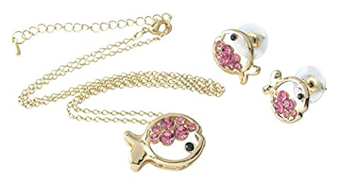 niceeshop(TM) Cute Crystal Pendant Necklace And Earrings Set (Pink,Set of 3)