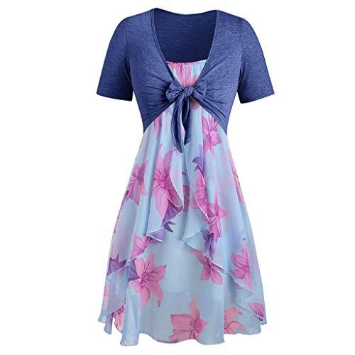 8 Ball T-stücke (DIPOLA Fashion Damen Kurzarm Oversized Top und Floral Chiffon Kleid Kurzarm Printed Dress Set (Grau, Rosa, Blau))