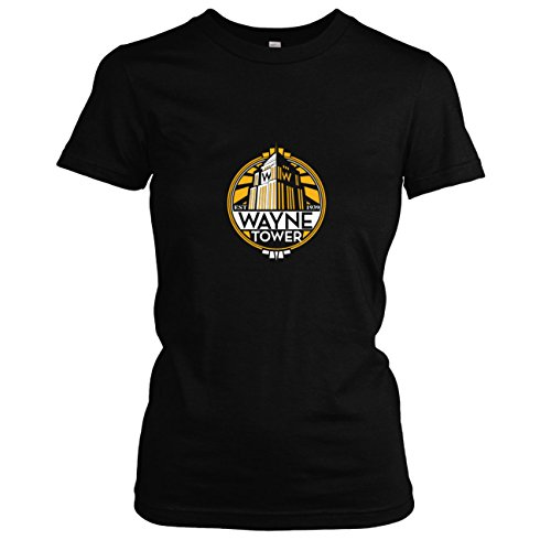 TEXLAB - Wayne Tower - Damen T-Shirt, Größe XL, (Schwarze Maske Arkham Origins Kostüm)