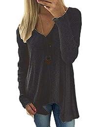 f58d132865 Pullover Damen Langarm V-Ausschnitt Einfarbig Strickpulli Elegante Casual  Trendigen Locker Irregular Jungen Chic…