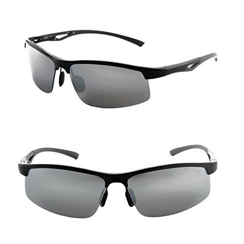 Männer Frauen Stil polarisierte Sonnenbrille Metallrahmen Sportbrillen (Gray, Grandient Grau)