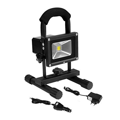 LE 10W LED Akkufluter Baustrahler ersetzt 60W Halogenlampen 700lm aufladbare Arbeitsleuchte wasserdicht Akkustrahler Kaltweiß 6000K Handlampe mit Ständer