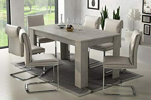 Tavolo da pranzo allungabile fino a 220 cm poznan tavolino consolle salotto salone sala da pranzo arredo arredamento 220 x 79.5 x 88 cm colore grigio cemento