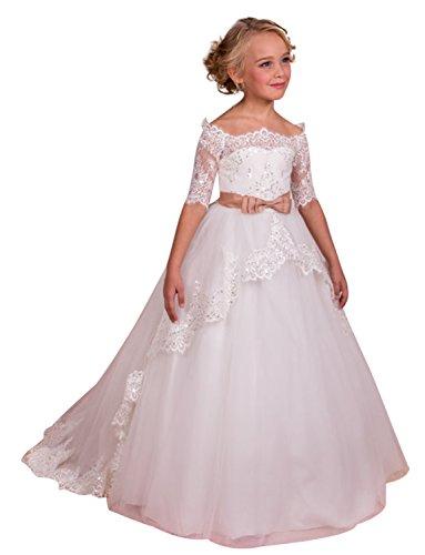 Izanoy Mädchen Ballkleid Blumenmädchenkleider Spitze Erste Kommunion Kleider Weiß 6 (Kleid Kommunion Tüll Erste Die)