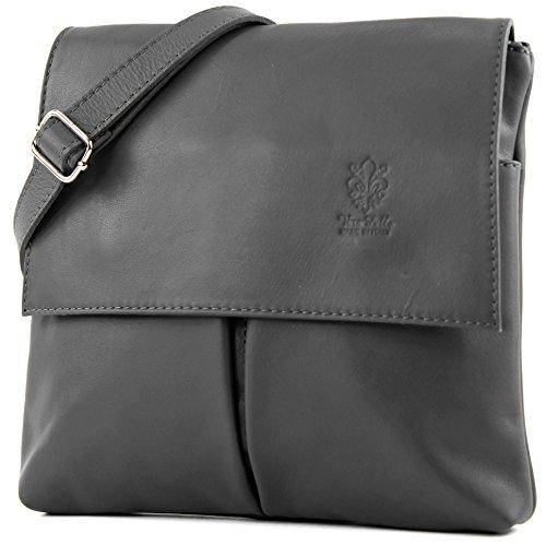 modamoda de - T63 - ital Umhänge-/Schultertasche Nappaleder, Farbe:Graphitgrau - Kunststoff Schwarz Messenger Bag