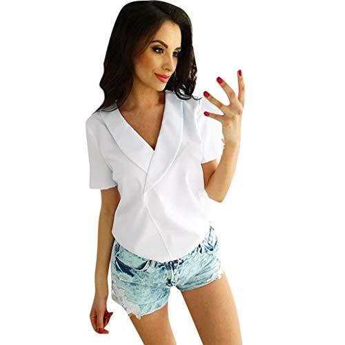 Yazidan Damen V Ausschnitt Shirt Figurbetonte Bluse in Wickeloptik Kurzarm Stretch Sommer Top -