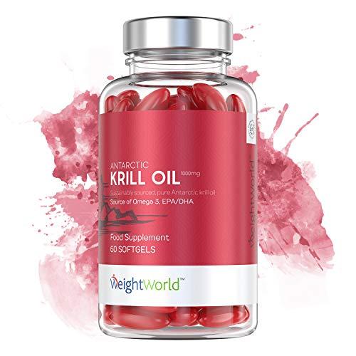 KRILL OIL - Huile de Krill de l'Antarctique - Riche en OMEGA 3 (EPA, DHA) - Puissant Antioxydant - Pour Mémoire et Concentration - Source Pure de Krill Eco-Responsable - 60 gélules par WeightWorld