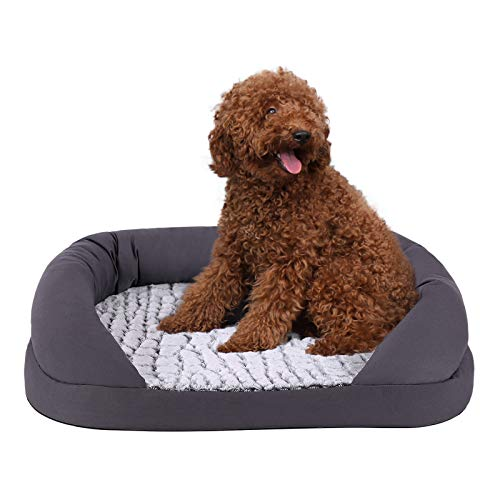 FEANDREA Hundebett, Bezug abnehmbar und waschbar, Hundekorb, Hundesofa mit Noppenschaumstoff-Füllung, orthopädisch, atmungsaktiv, pflegeleicht, im Schlafzimmer 73 x 50 x 18 cm, grau PGW50G