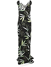 Guess vestido largo negro hojas fiesta Lana