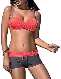 Ivy Shi Femme 1 Pièce Maillot de Bain nager robe (XL, orangé)