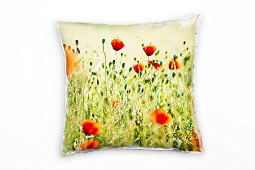 Paul Sinus Art Blumen, Grün, Rot, Klatschmohn, Wiese Deko Kissen 40x40cm für Couch Sofa Lounge Zierkissen - Dekoration Zum Wohlfühlen Hergestellt in Deutschland -