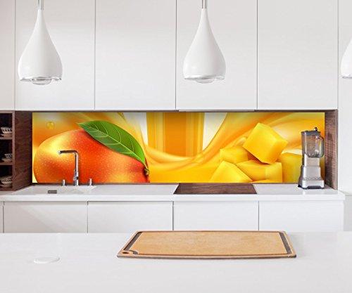 Aufkleber Küchenrückwand Mango abstrakte Kunst orange Obst Frucht Saft Folie selbstklebend Dekofolie Fliesen Möbelfolie Spritzschutz 22A734, Höhe x Länge:60cm x 150cm -