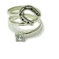 Anello da Donna in Argento 925 ferro di cavallo con 5mm Cubic Zirconia R001525
