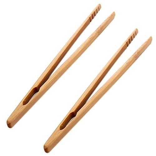 Leisial 2 Stücke Grillzange Holz Zange Holz Küchenzange 18CM