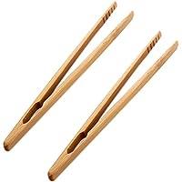 Milopon Clip Pinza Recta en Bambú Madera para Té Azúcar Camarelo Café Tostada Barbacoa Cocica en Color Marrón Longitud 18cm 2pcs