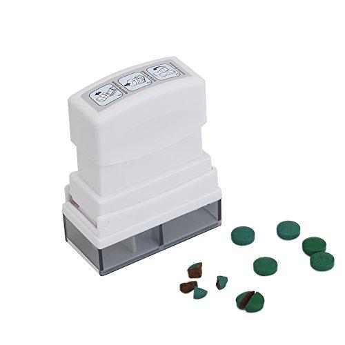 Shintop Tablettenteiler / Medikamententeiler / Pillenteiler mit Aufbewahrungsfach (Weiß)
