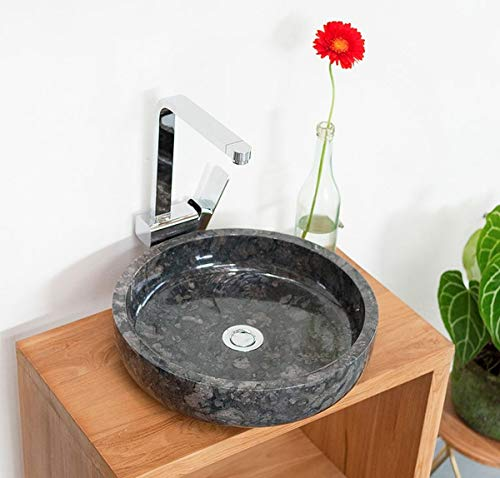 wohnfreuden Marmor Waschbecken MILO 40 cm anthrazit ✓ Naturstein Waschschale Handwaschbecken rund poliert für Bad Gäste WC ✓ inkl. techn. Zeichnung ✓ schnell