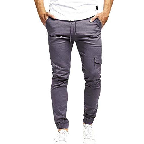 Qiuday Cargo Hose Sporthose Bequem Lose PersöNlichkeit Weites Bein Leichte Jogginghose Hip-Hop-Hosen Mode FüR MäNner LäSsig Einfarbig Mehrfachhose Herren Stoffhose Stretch-Material Regular Fit