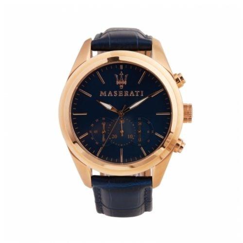 MASERATI Original Herren Uhr Chrono Traguardo Rose Gold Leder blau