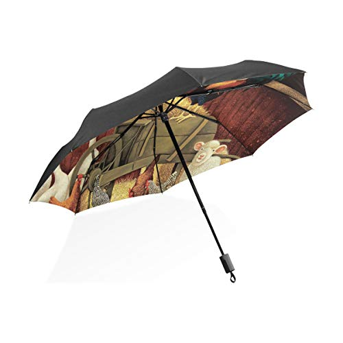 XiangHeFu Regenschirm Kuh Henne Hahn Gans Nutztier Auto Öffnen Schließen 3 Falten Leichte Anti-UV Gans Stand