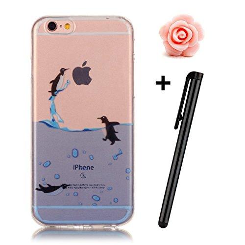 iPhone 7 Hülle,iPhone 7 Case,TOYYM TPU Hülle Schutzhülle Crystal Case Silikon Transparent Hülle Pflaumenblüte Muster Anti-Kratz Zurück Case Cover für iPhone 7 4.7 inch Pinguin