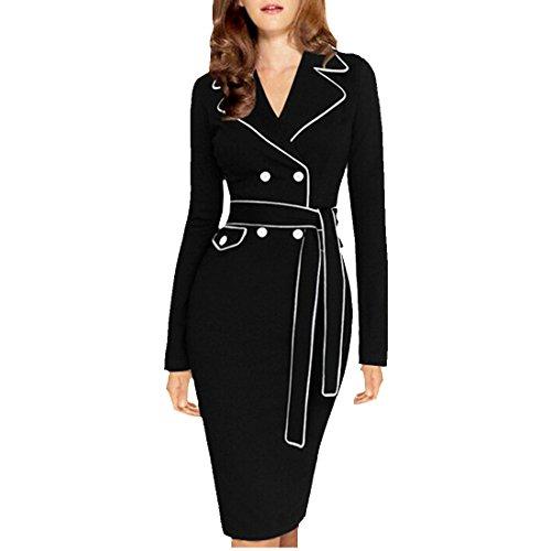 partiss femmes de coupe slim pour collier robe Crayon à manches longues avec ceinture Noir