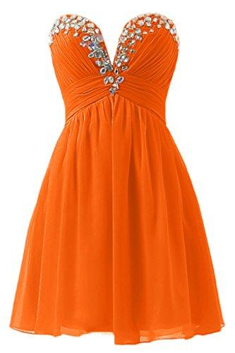 Sunvary Suess Neu Herzform Chiffon Falte Paillette Steine Festkleid Kurz Cocktailkleid Abendkleider Orange