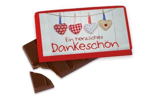 """La Vida Kleine Schokolade für Dich """" Ein herzliches Dankeschön """" Herzen 40 g Tafel"""