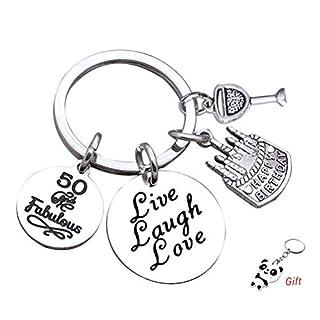kuou Birthday Keyring, 50th Birthday Gifts Stainless Steel Keychain Birthday Key Ring Chain for Women Men