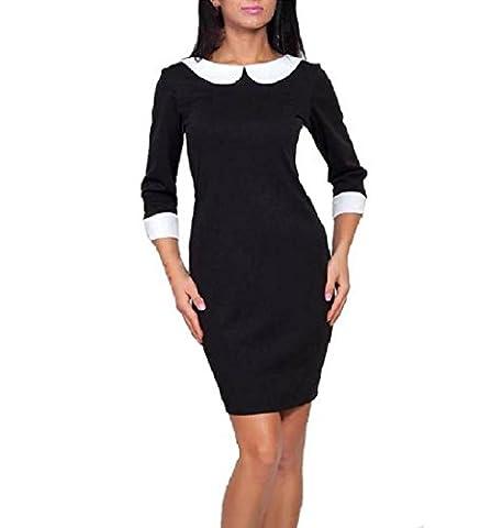 Top Woman Store - Robe - Manches 3/4 - Femme Noir Noir - Noir - S/M