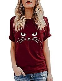 Yesmile Camiseta de Mujer Tops Negro Blusa Causal Ocasionales Camiseta Causal de Las Mujeres Ocasionales de