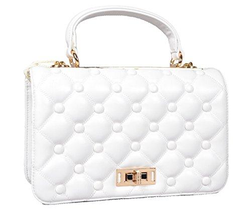 Designer Tasche PU Leder Handbag Clutch gesteppte Handtasche Henkeltasche Abendtasche Schultertasche Gold Kette City Tote Bag Weiß White