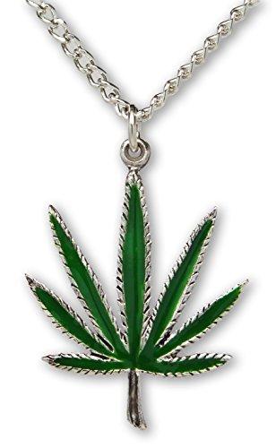 Marihuana Pot Leaf Grün Emaille auf Silber Finish Zinn Anhänger Halskette Pot Leaf