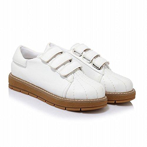 Mee Shoes Damen bequem Klettband runde Geschlossen Pumps Weiß