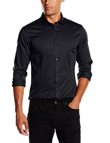 Jack & jones premium - jjprparma shirt l/s noos, camicia da uomo, nero (schwarz (black/super slim)), m