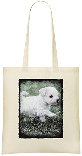 Französischer Pudel-Welpe - French Poodle Puppy Custom Printed Grocery Tote Bag - 100% Soft Cotton - Eco-Friendly & Stylish Handbag For Everyday Use - Custom Shoulder Bags