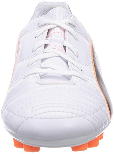 Puma Universal ll FG Jr, Chaussures de Football Mixte enfant Blanc - Weiß (white-black-fluo flash orange 02)