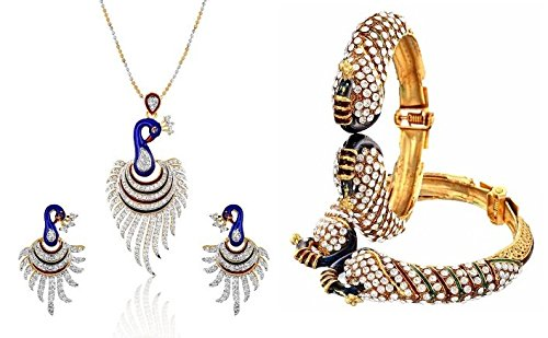 YouBella Women\'s Pride Combo of Dancing Peacock Jewellery Bangles and Pendant Set / Necklace Set with Chain and Earrings for Girls and Women