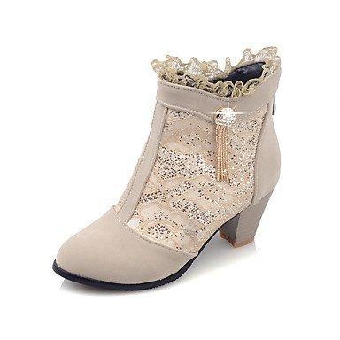 zhENfu Scarpe Donna Autunno / Inverno moda Stivali / Round Toe Boots Dress Chunky Heel Zipper nero / rosso / Beige Black