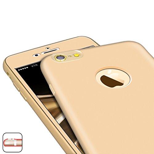 Yokata Coque iPhone 6S Plus, iPhone 6 Plus (5.5 pouces), Etui iPhone 6S Plus Avant + Arrière Housse de Protection Étui Silicone Souple Doux Soft Case avec Absorption de Choc Bumper en TPU Gel Ultra Mi Or