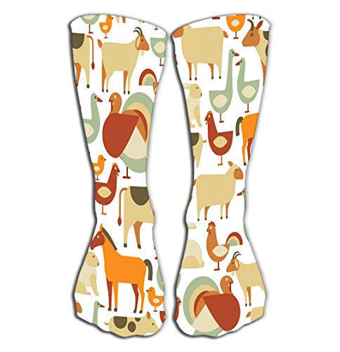 Outdoor Sports Men Women High Socks Stocking Farm Animals Pattern Psychedelic Tile Length 19.7
